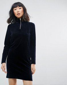 Read more about Moss copenhagen high neck velour dress with zip detail - navy
