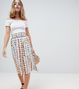 Read more about Asos petite cotton midi skirt with button front in floral print - multi