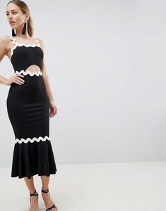 Read more about Asos design rik rak pephem midi dress - black