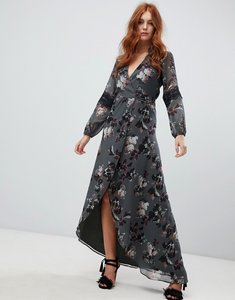 Read more about Hope ivy long sleeve wrap front maxi dress in floral print - green floral