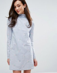 Read more about Fashion union high neck dress in blue stripe with embroidery - blue