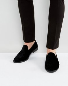 Read more about House of hounds anton embossed velvet loafers in black - black