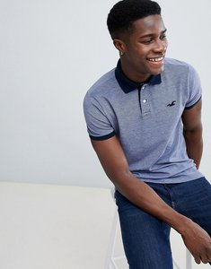 Read more about Hollister polo stretch pique icon logo slim fit in navy oxford - navy oxford