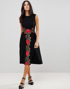 Read more about Traffic people midi dress with rose applique - black