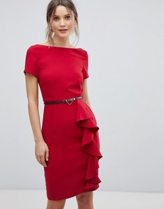 Read more about Paper dolls short sleeve dress with frill detail - tomato red