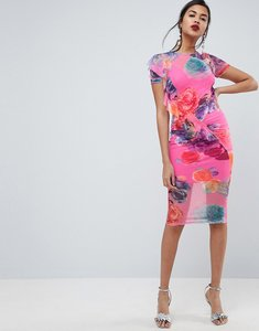 Read more about Asos printed mesh midi dress with frill detail - pink floral