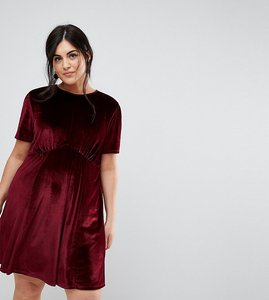 Read more about Asos curve velvet ultimate mini tea dress - oxblood