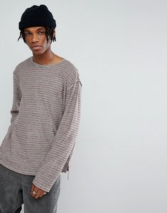 Read more about Mennace long sleeve t-shirt in stripe loopback - white