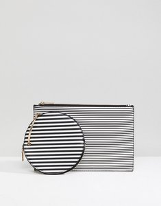 Read more about Asos ring detail stripe clutch bag - multi