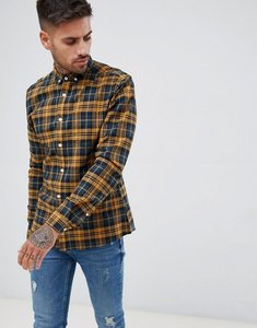 Read more about Asos design stretch slim check shirt in navy mustard - yellow