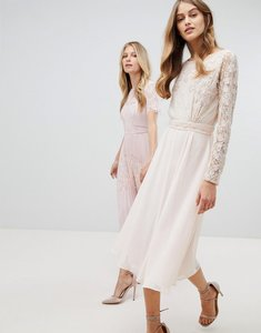 Read more about Amelia rose embroidered long sleeve midi dress with plunge back detail - nude