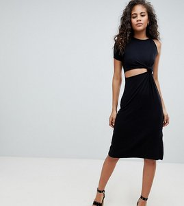 Read more about Asos design tall knot detail midi dress with cut out side in rib - black