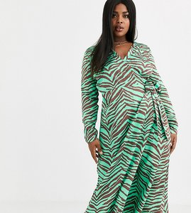 Read more about Asos design curve wrap maxi dress in zebra print