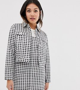 Read more about Miss selfridge cropped jacket in gingham