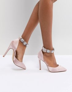 Read more about Public desire camly pink clear detail embellished court shoes - pink satin