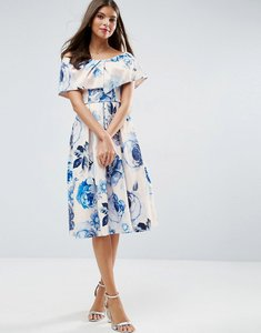 Read more about Asos wedding pink base floral bardot prom midi dress - multi