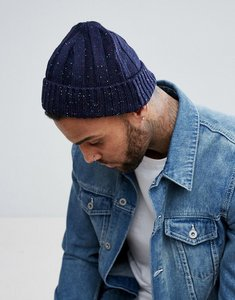 Read more about Asos fisherman beanie in navy with coloured nepp - navy