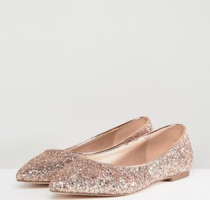 Read more about Asos design latch extra wide fit pointed ballet flats - rose gold glitter