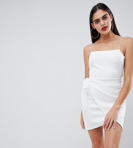 Read more about Asos design tall wrap front bow scuba mini dress - white