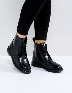 Read more about Dr martens kensington delphine brogue black lace up ankle boots - black polished smoot