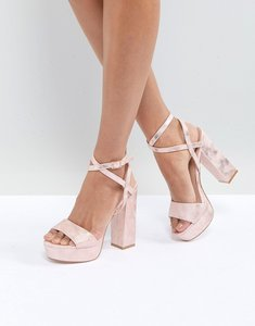 Read more about Public desire rover rose gold platform heeled sandals - rose gold pu