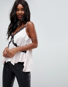 Read more about Asos lace trim strappy asymmetric cami - nude