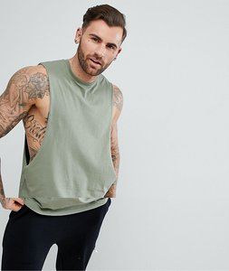 Read more about Asos longline vest with extreme dropped armhole in green - washed aspargus