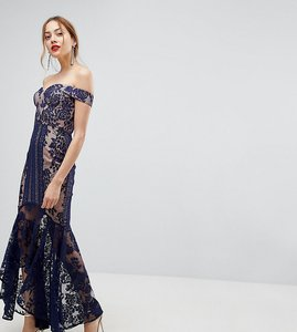 Read more about Jarlo tall all over lace off shoulder fishtail midi dress - navy