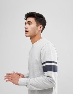 Read more about Only sons sweatshirt with arm stripe - light grey melange