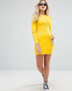 Read more about Asos mini bodycon dress in rib with long sleeves - yellow
