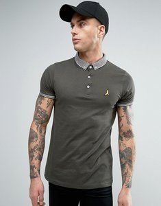 Read more about Brave soul knitted collar polo shirt - khaki