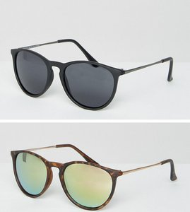 Read more about Asos 2 pack skinny keyhole retro round sunglasses matt black tort and pink flash lens - multi