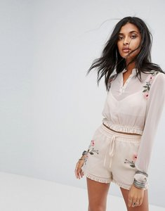 Read more about Glamorous sheer crop top with floral embroidery co-ord - cream