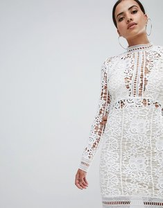 Read more about Missguided crochet lace long sleeve mini dress - white