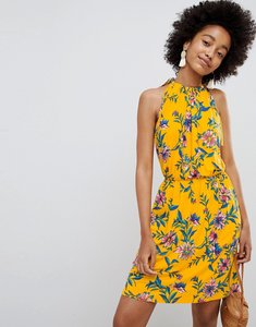 Read more about Asos design mini drapey sundress in floral print - yellow floral