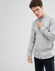 Read more about Selected homme regular fit shirt with grandad collar - grey