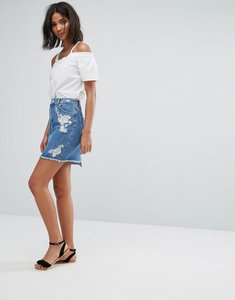 Read more about Miss selfridge embroidered denim skirt - blue