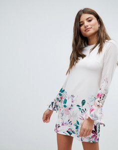 Read more about Jessica wright long sleeve shift dress in floral border print - cream