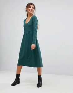 Read more about Asos midi smock dress with button placket - forest green