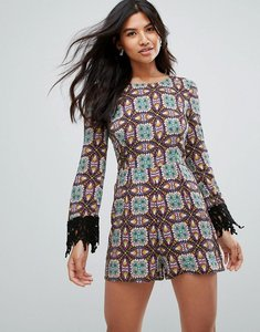 Read more about Glamorous fringe detail playsuit - blk turq purp