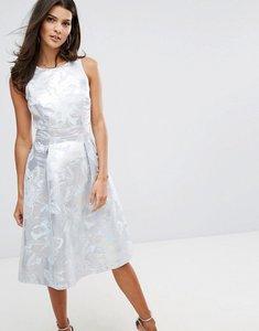 Read more about Warehouse metallic jacquard midi dress - silver