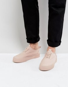 Read more about Asos lace up plimsolls in pink canvas with chunky sole - pink