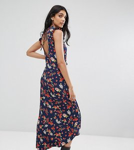 Read more about Asos tall maxi tea dress with cut out back detail in grunge floral print - multi