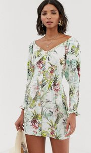 Read more about Asos design button through shirred mini dress in tropical print