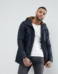Read more about Pull bear borg lined parka jacket in navy - navy blue
