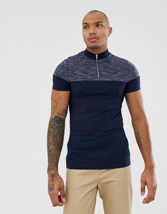 asos design muscle fit tshirt with contrast zip neck navy