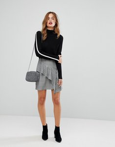 Read more about Warehouse ruffle mono checked skirt - black white