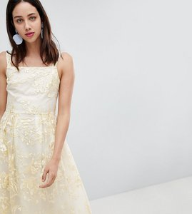 Read more about Dolly delicious all over embroidered floral lace midi prom dress - multi