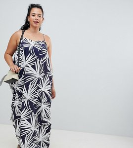 Read more about Asos design curve tab back drape hareem maxi dress in navy palm print - multi
