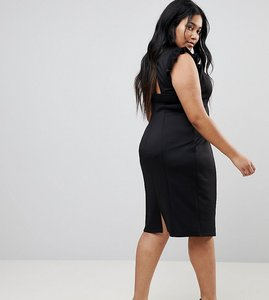 Read more about Asos curve midi high neck pencil dress with cut out back and shoulder detail - black